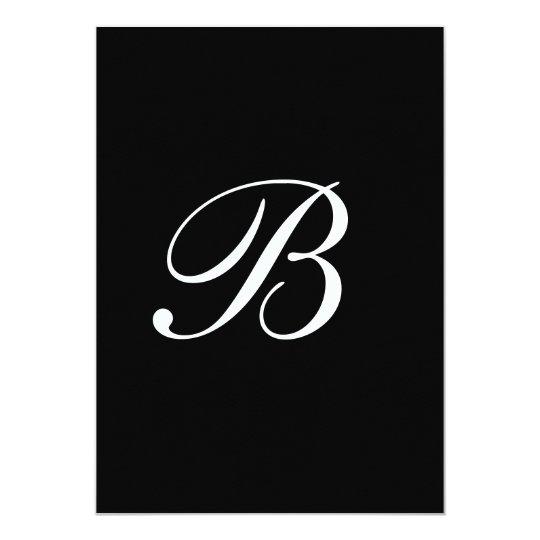 Monogram white black Wedding card