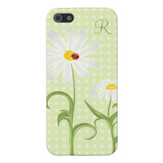 Monogram White Daisy and Lady Bug Polka Dot Green Case For The iPhone 5