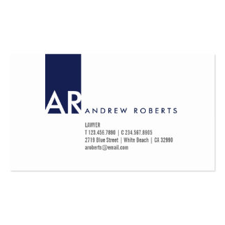 Monogram White Dark Blue Clean Business Card
