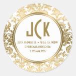 Monogram White & Gold Floral Damasks Pattern Round Sticker