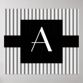 Monogram white grey stripes posters