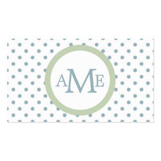 Monogram White Lt Blue Polka Dot Business Card