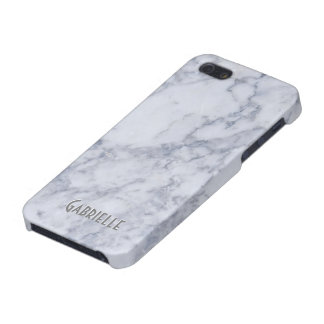 Monogram White Marble Stone Pattern iPhone 5 Cover