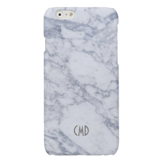 Monogram White Marble Stone Pattern iPhone 6 Plus Case