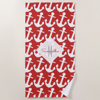 Monogram, White Nautical Anchor Pattern on Red Beach Towel