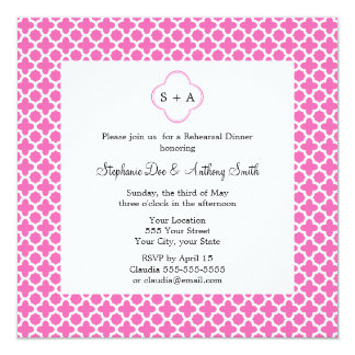 Monogram White on Hot Pink Quatrefoil Pattern Card