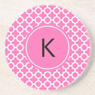 Monogram White on Hot Pink Quatrefoil Pattern Coaster