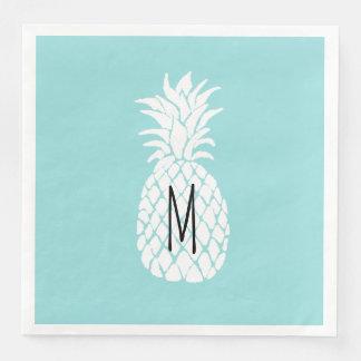 monogram white pineapple paper napkin