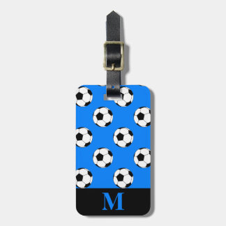 Monogram White Soccer Football Balls, Azure Blue Luggage Tag