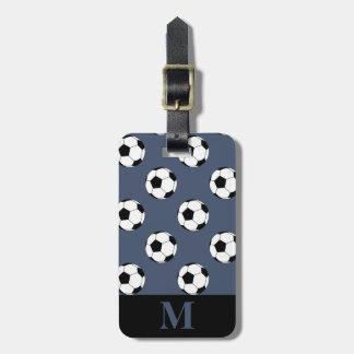 Monogram White Soccer Football Balls, Blue Jeans Luggage Tag