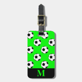 Monogram White Soccer Football Balls, Lime Green Luggage Tag