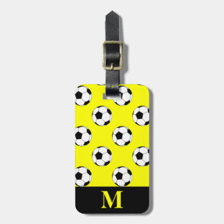 Monogram White Soccer Football Balls, Yellow Luggage Tag