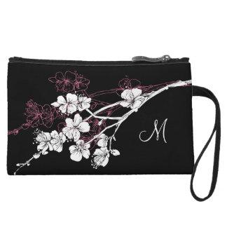 Monogram White Spring Blossoms on Acai Pink Wristlet Clutches