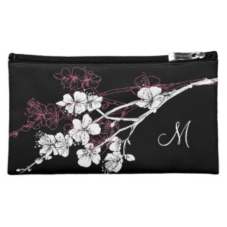 Monogram White Spring Blossoms on Acai Pink Cosmetic Bag
