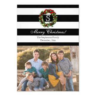 Monogram Wide Stripe Christmas Photo 13 Cm X 18 Cm Invitation Card
