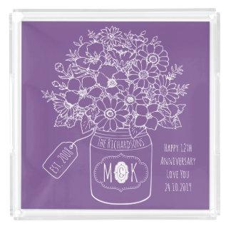 Monogram Wildflowers Bouquet Hand-Drawn Mason Jar Acrylic Tray