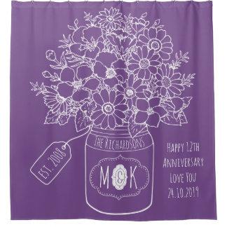 Monogram Wildflowers Bouquet Hand-Drawn Mason Jar Shower Curtain