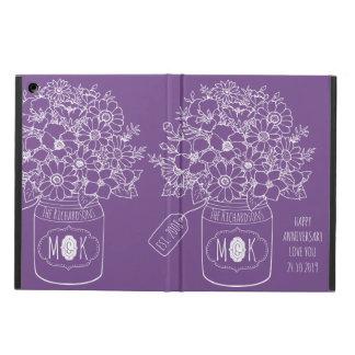 Monogram Wildflowers Bouquet Mason Jar Hand-Drawn iPad Air Cover