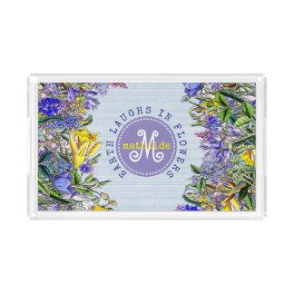 Monogram Wildflowers Vintage Purple Yellow Flowers