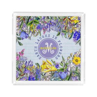 Monogram Wildflowers Vintage Purple Yellow Flowers Acrylic Tray