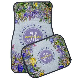 Monogram Wildflowers Vintage Purple Yellow Flowers Car Mat
