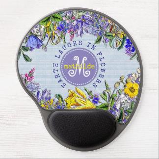 Monogram Wildflowers Vintage Purple Yellow Flowers Gel Mouse Mat