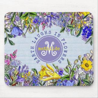 Monogram Wildflowers Vintage Purple Yellow Flowers Mouse Mat