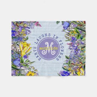 Monogram Wildflowers Vintage Victorian Flowers Fleece Blanket