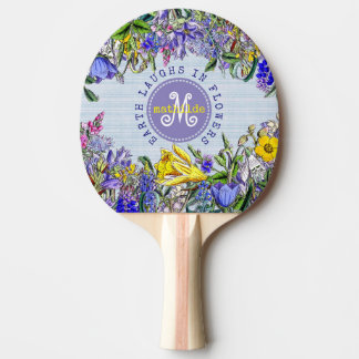 Monogram Wildflowers Vintage Victorian Flowers Ping Pong Paddle