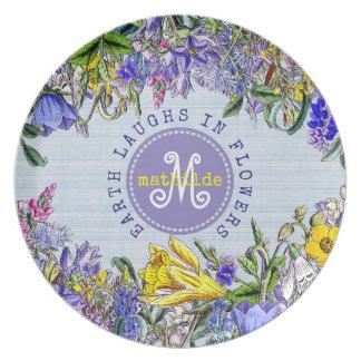 Monogram Wildflowers Vintage Victorian Flowers Plate