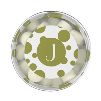 Monogram Willow Green and White Polka Dots