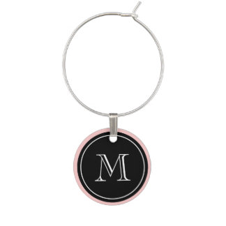 Monogram wine charms with custom color edge