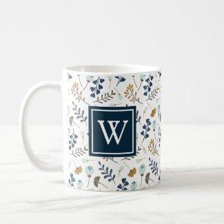 Monogram Winter Floral Botanical Navy Coffee Mug