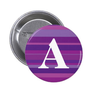 Monogram with a Colorful Striped Background - A 6 Cm Round Badge