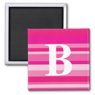 Monogram with a Colorful Striped Background - B Magnets