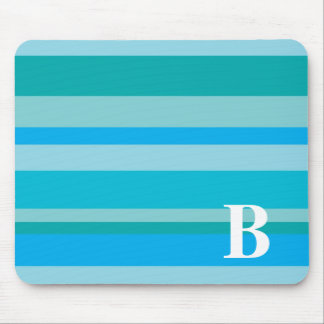 Monogram with a Colorful Striped Background - B Mouse Mat