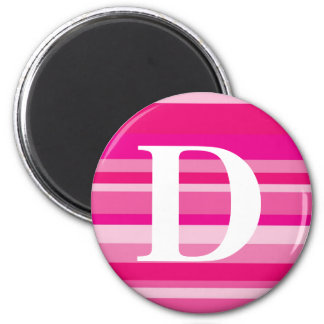 Monogram with a Colorful Striped Background - D Refrigerator Magnet