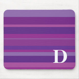Monogram with a Colorful Striped Background - D Mouse Pads