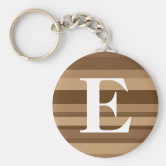 Monogram with a Colorful Striped Background - E Basic Round Button Key Ring
