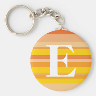 Monogram with a Colorful Striped Background - E Key Chain