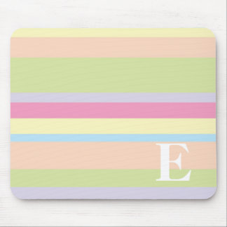 Monogram with a Colorful Striped Background - E Mouse Mat