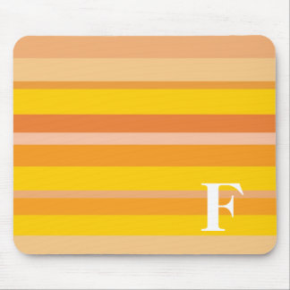 Monogram with a Colorful Striped Background - F Mouse Pads