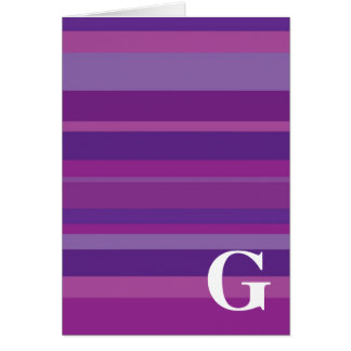 Monogram with a Colorful Striped Background - G Greeting Cards