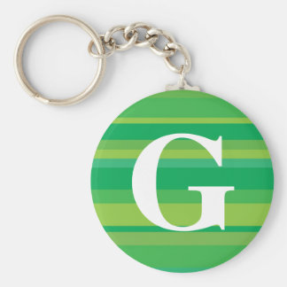 Monogram with a Colorful Striped Background - G Key Chain