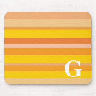 Monogram with a Colorful Striped Background - G Mouse Pads