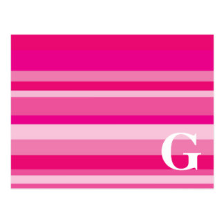 Monogram with a Colorful Striped Background - G Postcard