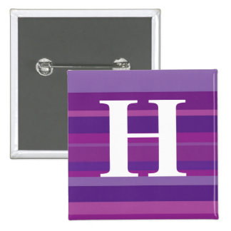 Monogram with a Colorful Striped Background - H Pinback Button