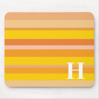 Monogram with a Colorful Striped Background - H Mouse Pads