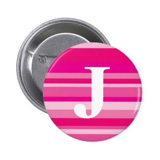 Monogram with a Colorful Striped Background - J 6 Cm Round Badge