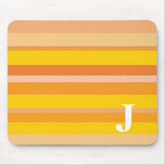 Monogram with a Colorful Striped Background - J Mouse Mats